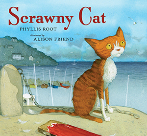 Scrawny Cat book cover: an orange, scrawny cat sits on the beach overlooking the water