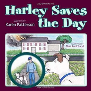 Harley Saves the Day Book cover: a dog looking at a burning building